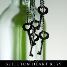 Skeleton Key with Heart. Small Metal Decorative Skeleton Key. 5 Pack. by Annie Howes $4.50
