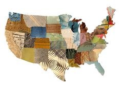 Large U.S. map contiguous, United States map, cut paper US map, collage US map, mixed media US map
