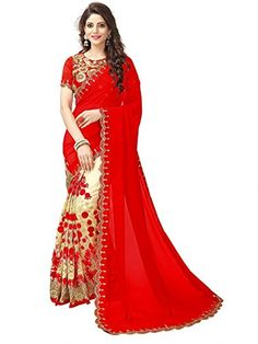 fcf82cb1381 Georgette Saree (heavy red 1 Red Free Size) FABRIZO https   www.amazon