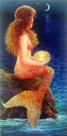 """""""Midnight Mermaid"""", available as a print on : www.susanriosdesigns.etsy.com"""