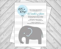 Elephant baby shower invitation balloon  blue by alittletreasure