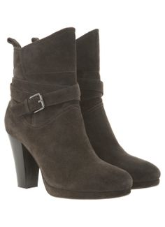 Charcoal Suede Cross Ankle Boots