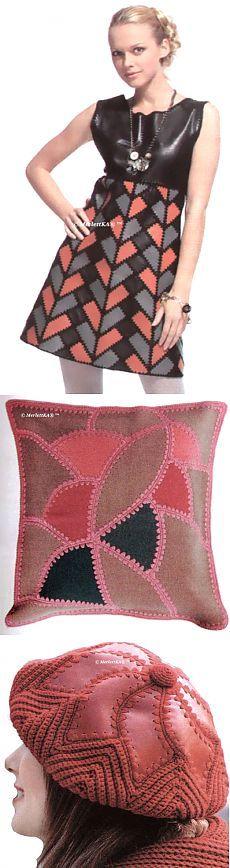 ИДЕИ ИЗ КОЖИ И ДРАПА, ОБВЯЗАННЫЕ КРЮЧКОМ / Прочие виды рукоделия / Шитье Crochet Fabric, Crochet Bebe, Freeform Crochet, Crochet Blouse, Free Crochet, Crochet Patterns, Leather Tutorial, Fabric Textures, Crochet Squares