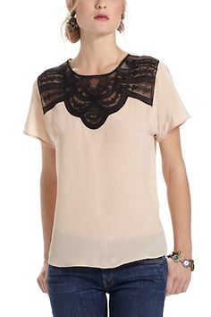 Now this is my kind of top... modern romantic and I love the combination of black and nude.