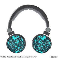 Teal On Black Trendy Headphones