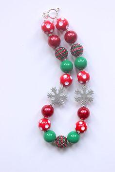 girls christmas chunky necklace red green by LightningBugsLane, $16.00