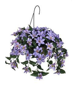 "nice  Natural-looking & life-like Lush artificial purple clematis Designer reed and metal hanging basket (12"" diameter x 6"" high, 16"" metal hook)   https://www.silkyflowerstore.com/product/house-of-silk-flowers-artificial-purple-clematis-hanging-basket/"