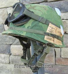 Vietnam M-1C Airborne Helmet & 1967 Paratrooper Liner 1967 Camo Cover Goggles