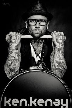 boy, black, white, photography, portrait, lights, shadows, Tattoo, drummer
