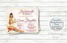 Retro Bachelorette party invitation Pin up bachelorette