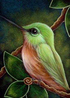 Oil Pastel Paintings, Oil Pastel Art, Animal Paintings, Bird Drawings, Art Drawings Sketches, Black Paper Drawing, Hummingbird Art, Bird Artwork, Color Pencil Art