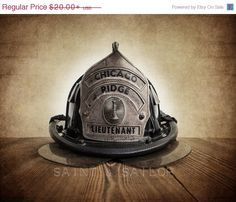 FLASH SALE til MIDNIGHT Vintage Fireman helmet Photo Art Print, Chicago Lt, 12 Sizes Available from Print to Mounted Canvas