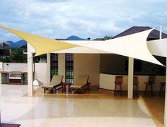 Drop Cloth Pergola Curtains - Simple Pergola Videos How To Build - - Pergola Terraza Bambu - Backyard Shade, Patio Shade, Backyard Patio Designs, Pergola Shade, Pergola Designs, Backyard Ideas, Outdoor Shade, Diy Patio, Patio Ideas
