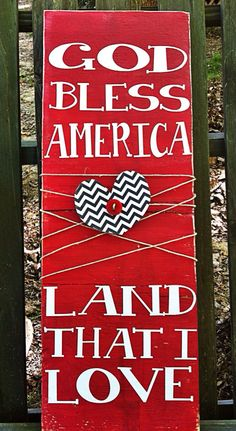 God bless America. 4th of July. Patriotic sign. Made to order