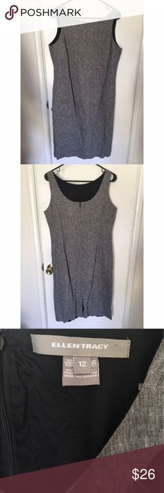 ELLEN TRACY GRAY PENCIL SLEEVELESS CAREER DRESS GREY (Merle) PENCIL SLEEVELESS DRESS. SIZE 12. PRE-OWNED, VERY GOOD CONDITION. Perfect for work/career/business attire. Dress does need to be dry-cleaned as it is a bit wrinkled on the back side (as seen in photos) Ellen Tracy Dresses