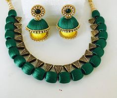Silk Thread Choker Necklace Set with earrings Silk Thread Necklace, Thread Jewellery, Jewellery Bracelets, Bangles, Modern Jewelry, Diy Jewelry, Jewelry Sets, Fashion Jewelry, Thread Chains