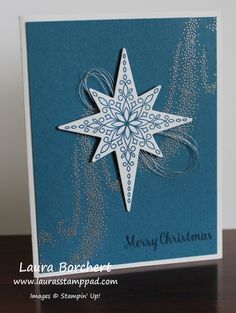 Stampin' Up! Star of Light Stamp Set, Starlight Thinlits, Heat Embossing, Silver Embossing Powder, Silver Metallic Thread, Holiday Mini Catalog, www. LaurasStampPad.com