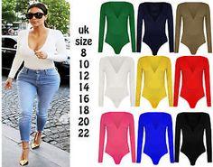 Womens-Deep-V-Neck-Plain-Jersey-Stretch-Bodysuit-Ladies-Long-Sleeve-Leotard-Top