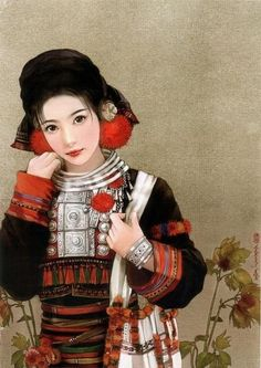 china ethnic groups women dresses and accessories, this is a art painting show regarding women dresses and accessories of china's 56 Chinese ethnic groups, all art works of this painting show are made by various modern chinese artists Chinese Painting, Chinese Art, Amazing Drawings, Fantastic Art, Traditional Dresses, Asian Art, Female Art, Character Art, Culture