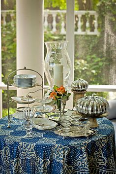 Beautiful table setting with mercury glass accents for fall from Nell-Hill's Style at Home.
