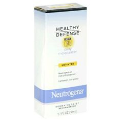 Neutrogena Healthy Defense Daily Moisturizer, SPF 30, Untinted, 1.7 Fluid Ounce (50 ml) by Neutrogena. $13.06. Healthy Defense SPF 30 Daily Moisturizer offers broad-spectrum daily protection against incidental sun exposure. It also helps prevent the signs of premature  30 sunscreen protects skin against damaging UVA and UVB rays. Vitamin E and Pro-Vitamin B5 formula helps protect skin from environmental damage caused by free radicals. Lightweight and non-greasy...