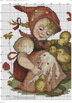 """Chick Girl"" Hummel cross stitch design - 1 of 3"