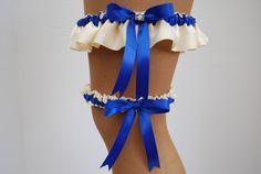 Royal blue and white wedding garter