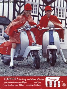 Scooter girls on lambrettas! 1960s ad for capes