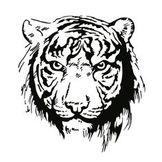 tiger tattoo / digistamp / silhouette #animal #Africa