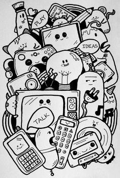 Ideas - 2015 sneh, 2019 drawings, doodles ve doodle art. Doodle Art Letters, Cute Doodle Art, Doodle Art Designs, Doodle Art Drawing, Doodle Art Journals, Cute Art, Drawing Ideas, Kawaii Doodles, Cute Doodles