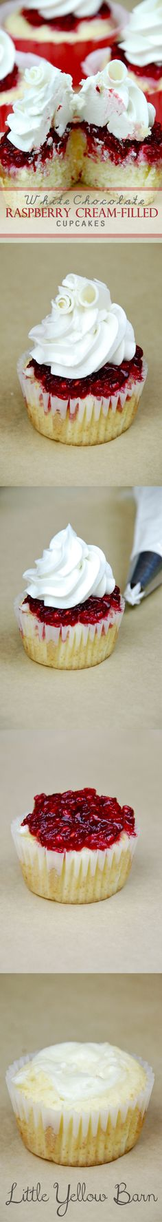 Vanilla cupcake, cream cheese filling, raspberry and white chocolate buttercream topping.  .