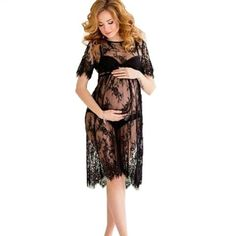 815c1480fc4 Women Lace Dress Casual Long Black Short Sleeve O Neck See Through Beach Wear  Dresses