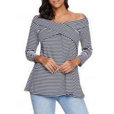 #trendsgal.com - #Trendsgal Striped Off The Shoulder T shirt - AdoreWe.com