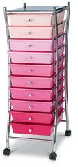This 10-drawer mobile organizer is one of the things we use for our workboxes. Got it at Office Depot. They also come in shades of gray and rainbow.