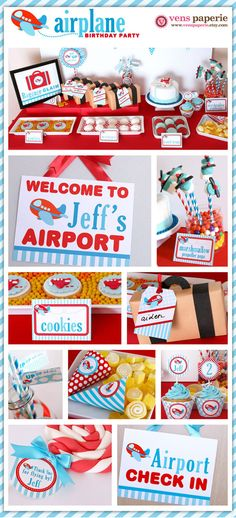 airplane party dessert table, DIY printable decoration by http://www.etsy.com/shop/venspaperie