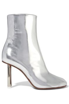 Heel measures approximately 85mm/ 3.5 inches Silver leather Zip fastening along side Made in Italy