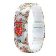 Womens Girls Floral Rose, LED Watch with Rubber Watch Band Digital Wrist Watch, Led Watch, Rubber Watches, Bracelet Clasps, Women Brands, Bracelets For Men, Watch Bands, Watches For Men, Women Jewelry