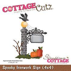 CottageCutz Spooky Ironwork Sign (4x4)