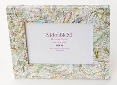 Decoupage Map Picture Frame  5x7 frame featuring maps by MdoubleM, $20.00