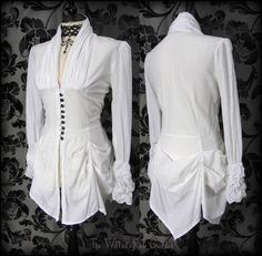 Victorian Goth White Hitched High Collar Bustle Shirt Top 14 Steampunk Romantic | THE WILTED ROSE GARDEN on eBay // Worldwide Shipping Available