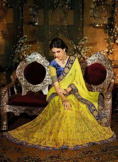 Captivating Yellow Colored Lehenga Saree