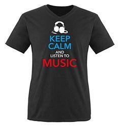 Comedy Shirts - KEEP CALM... MUSIC - hombre V-Neck T-Shirt camiseta - negro / blanco-azul-rojo tamaño S #camiseta #friki #moda #regalo