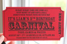 County Fair birthday invitation inspiration: Ticket-shaped invite (Carnival Birthday Party Ideas | Photo 2 of 114 | Catch My Party)