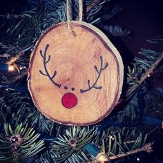 Adorable Rudolph ornament on birch wood Each item is handmade, meaning no two items are exactly the same. Wood knots, colors & sizes may vary We hope you enjoy your unique custom creation! Christmas Love, Homemade Christmas, Rustic Christmas, Reindeer Christmas, Christmas Ornament Crafts, Christmas Projects, Holiday Crafts, Xmas Decorations, Holidays