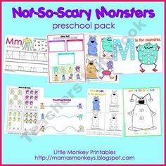 Thanks for taking a look at the Not-So-Scary Monsters preschool pack. This pack includes 1 introduction page and 27 printable activity pages for a . Letter M Activities, Fall Preschool Activities, Preschool Printables, Toddler Activities, Free Preschool, Halloween Activities, Educational Activities, Preschool Crafts, Learning Activities