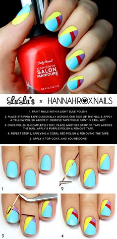 13 Beach-Inspired Nail Art Tutorials - GleamItUp @Lellowbrasil #Lellowbrasil