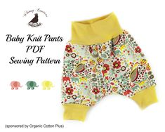 Free PDF Sewing Pattern For Baby Knit Pants from Whimsy Couture Size: newborn
