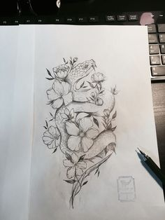 nice Tattoo Trends - Flower Snake Tattoo Design   From Blue Whale Ink Design by _park_tae_  Work In K...