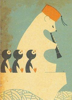 polar bear & penguins - junzo terada