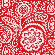 red Michael Miller flower fabric with wild flowers 1